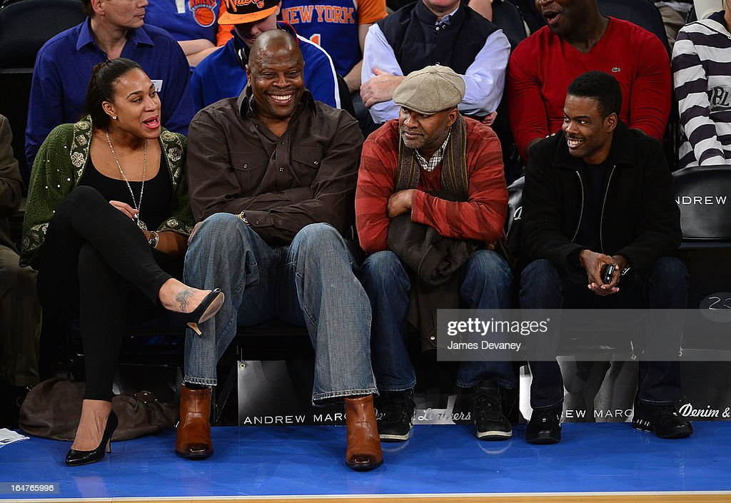 Patrick Ewing and Chris Rock attend the Memphis Grizzlies vs New York Knicks game at Madison Square Garden on March 27, 2013 in New York City.