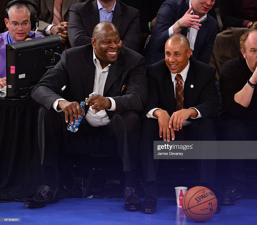Patrick Ewing and John Starks attend the Boston Celtics vs New York Knicks Playoff Game at Madison Square Garden on April 23, 2013 in New York City.