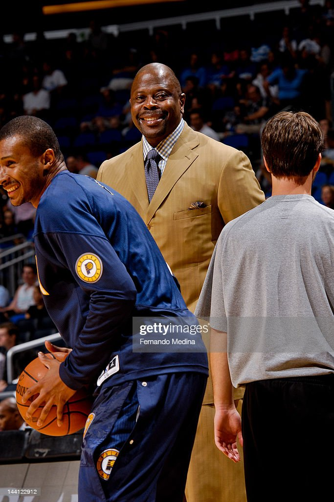 Patrick Ewing, assistant coach of the Orlando Magic, watches his team warm up before playing the Indiana Pacers in Game Four of the Eastern Conference Quarterfinals during the 2012 NBA Playoffs on May 5, 2012 at Amway Center in Orlando, Florida.