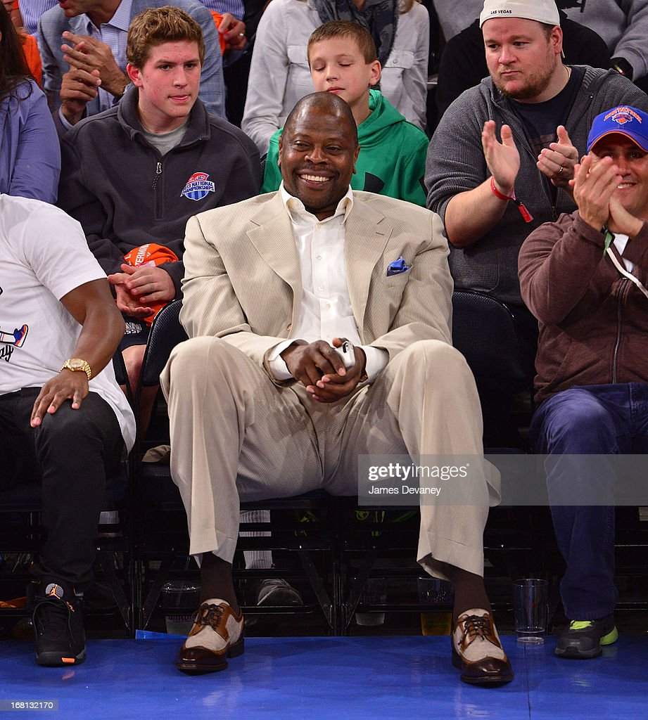 Patrick Ewing attends the New York Knicks vs Indiana Pacers NBA playoff game at Madison Square Garden on May 5, 2013 in New York City.