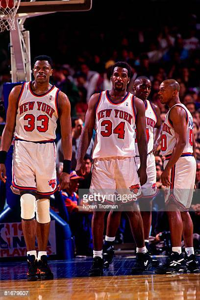 Patrick Ewing Charles Oakley Greg Anthony and Anthony Mason of the New York Knicks takes the court in Game One of the Eastern Conference Semifinals...
