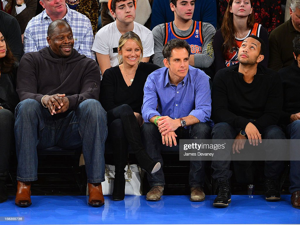 Patrick Ewing, Christine Taylor, Ben Stiller and John Legend attend the Los Angeles Lakers vs New York Knicks game at Madison Square Garden on December 13, 2012 in New York City.