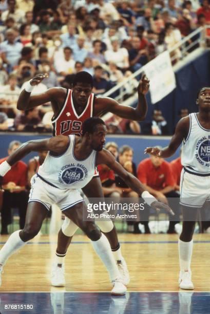 Patrick Ewing Dan Roundfield Isiah Thomas Men's Basketball team playing at 1984 Olympics at the Los Angeles Memorial Coliseum
