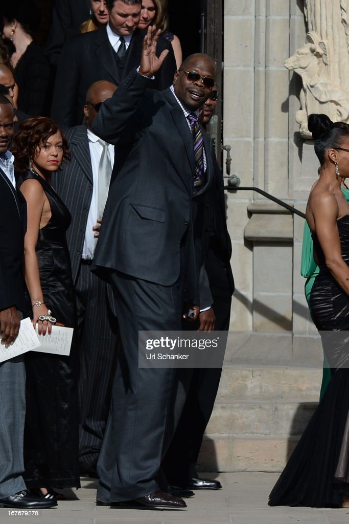 Patrick Ewing is sighted at Michael Jordan and Yvette Prieto wedding Bethesda-by-the Sea church on April 27, 2013 in Palm Beach, Florida.