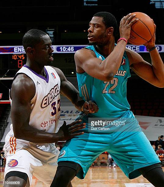 Patrick Ewing Jr #22 of the Sioux Falls Skyforce holds the ball away from Michael Haynes of the Iowa Energy during their game March 18 2011 at the...