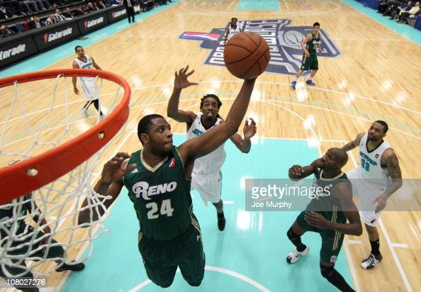 Patrick Ewing Jr #24 of the Reno Bighorns shoots the ball against the Sioux Falls SkyForce during the 2011 NBA DLeague Showcase on January 13 2011 at...