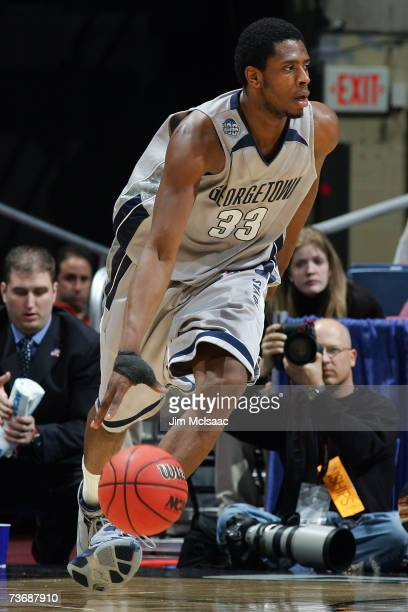 Patrick Ewing Jr #33 of the Georgetown Hoyas dribbles the ball against the Vanderbilt Commodores during the NCAA Men's East Regional Semifinal at...