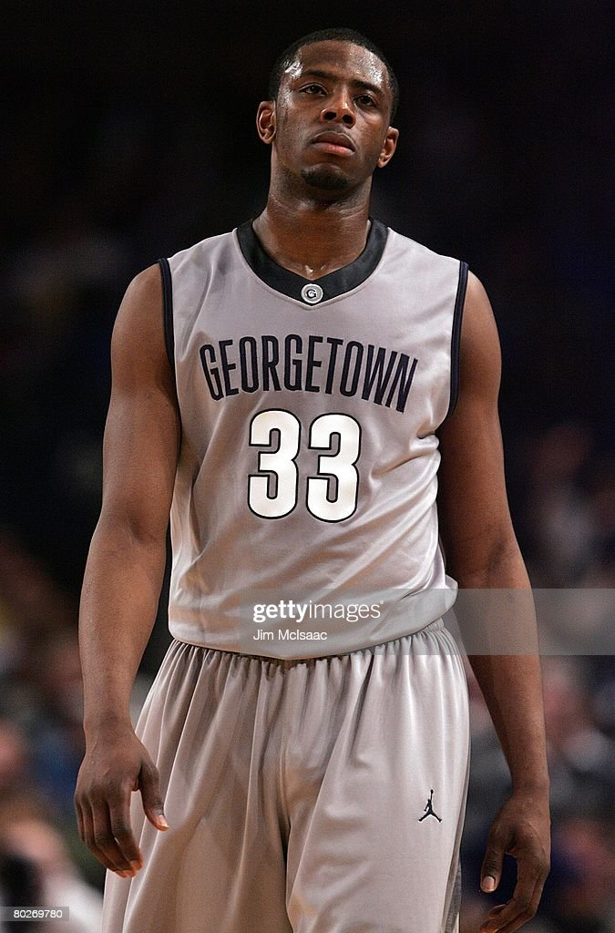 Patrick Ewing Jr #33 of the Georgetown Hoyas looks on against the Villanova Wildcats during day two of the 2008 Big East Men's Basketball...
