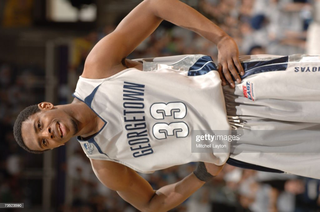 <a gi-track='captionPersonalityLinkClicked' href=/galleries/search?phrase=Patrick+Ewing+Jr.&family=editorial&specificpeople=2551108 ng-click='$event.stopPropagation()'>Patrick Ewing Jr.</a> #33 of the Georgetown Hoyas looks on during a college basketball game against the Connecticut Huskies at Verizon Center on March 3, 2007 in Washington D.C.