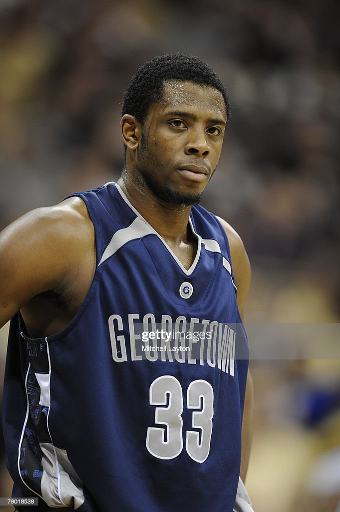 Patrick Ewing Jr #33 of the Georgetown Hoyas looks on during a basketball game against the Pittsburgh Panthers at Petersen Events Center on January...
