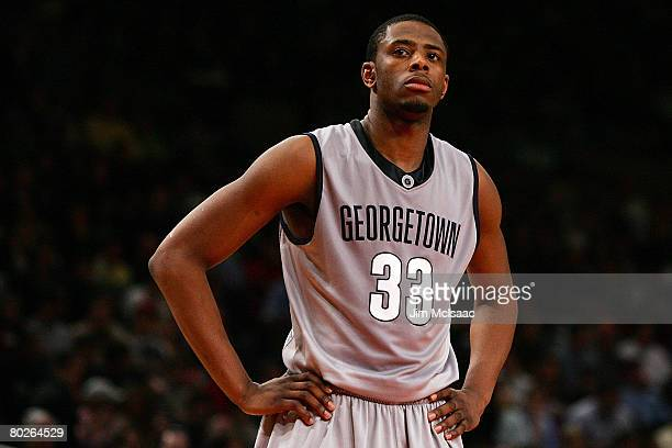 Patrick Ewing Jr #33 of the Georgetown Hoyas reacts after a play during the final of the 2008 Big East Men's Basketball Championship at Madison...