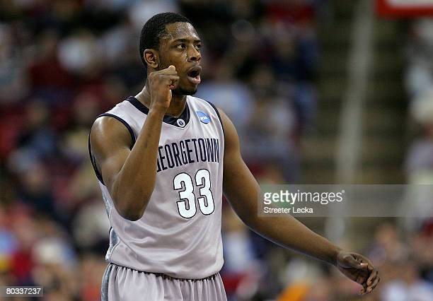 Patrick Ewing Jr #33 of the Georgetown Hoyas reacts to a call made during their game against the UMBC Retrievers in the first round of the 2008 NCAA...