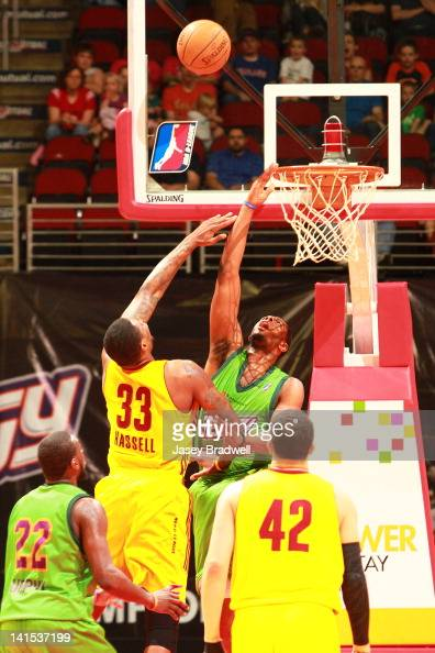 Patrick Ewing Jr #33 of the Iowa Energy defends against Franklin Hassell of the Canton Charge in an NBA DLeague game on March 16 2012 at the Wells...