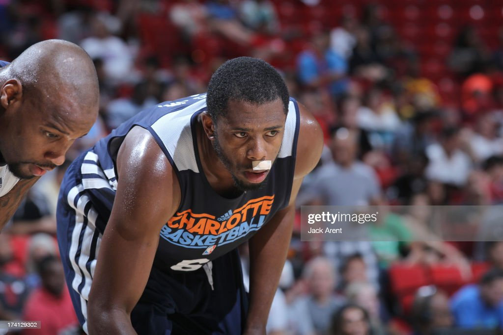 Patrick Ewing  Jr. #6 of the Charlotte Bobcats is back on court after a nose injury during NBA Summer League game between the D League Select and the Charlotte Bobcats on July 20, 2013 at the Thomas and Mack Center Center in Las Vegas, Nevada.
