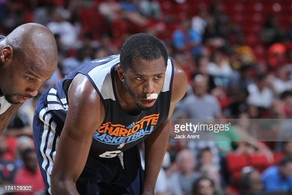 Patrick Ewing  Jr #6 of the Charlotte Bobcats is back on court after a nose injury during NBA Summer League game between the D League Select and the...