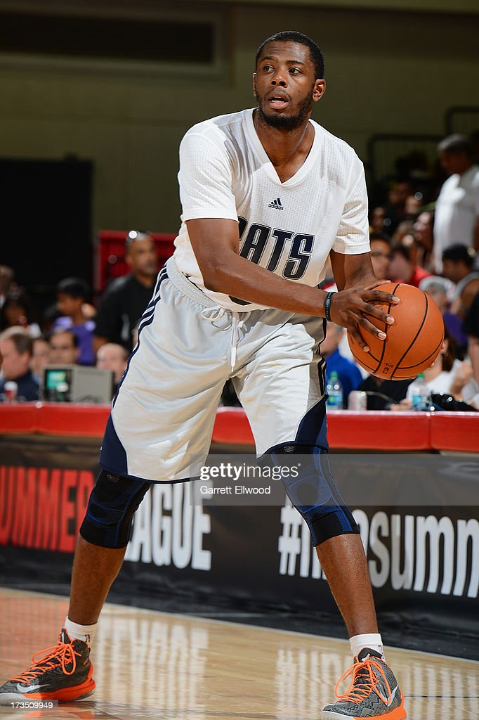 Patrick Ewing Jr #6 of the Charlotte Bobcats looks to pass the ball against the New York Knicks during NBA Summer League on July 15 2013 at the Cox...