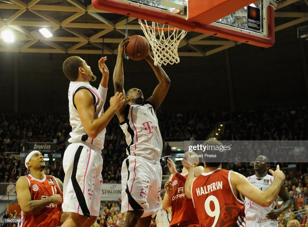 Patrick Ewing Jr. (C) of Bonn catches a rebound during the Beko Basketball match between FC Bayern Muenchen and Telekom Baskets Bonn at Audi-Dome on December 9, 2012 in Munich, Germany.