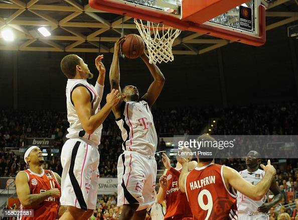 Patrick Ewing Jr of Bonn catches a rebound during the Beko Basketball match between FC Bayern Muenchen and Telekom Baskets Bonn at AudiDome on...
