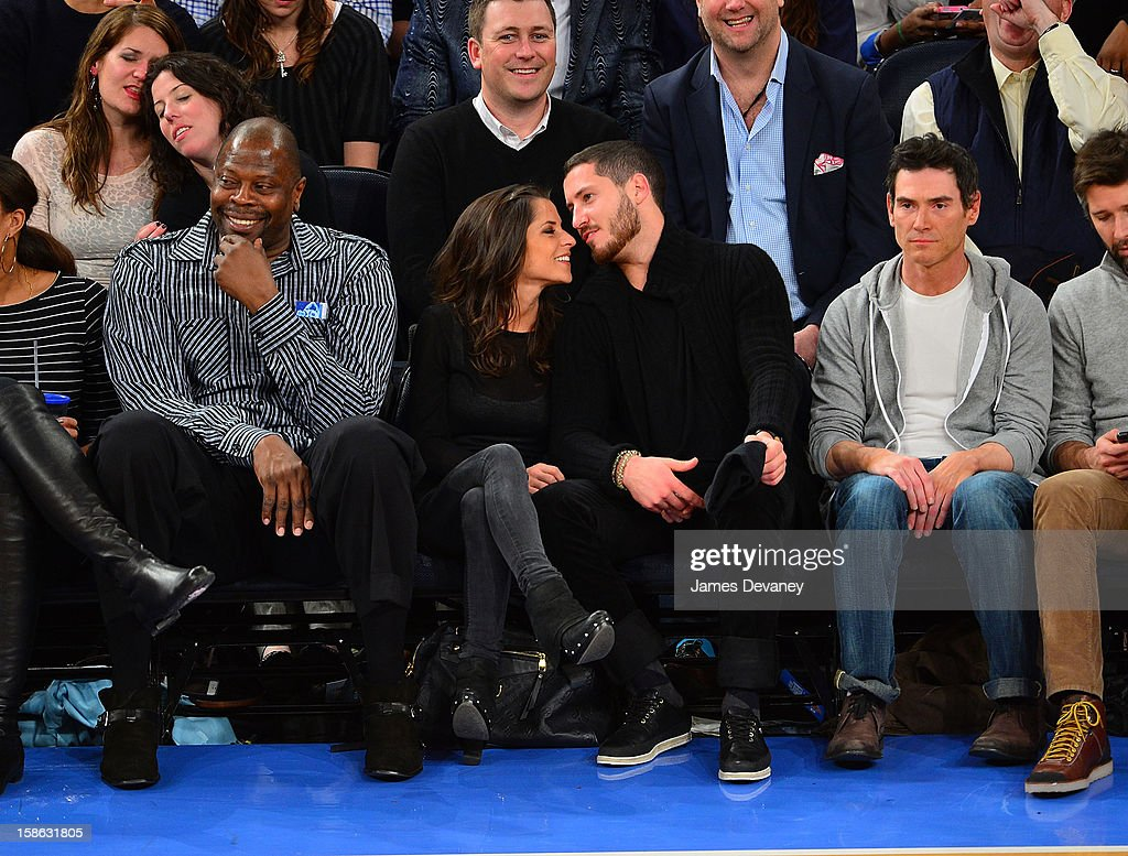 Patrick Ewing, Kelly Monaco, Valentin Chmerkovskiy and Billy Crudup attend the Chicago Bulls vs New York Knicks game at Madison Square Garden on December 21, 2012 in New York City.