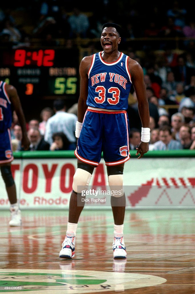 Patrick Ewing of the New York Knicks celebrates during a game against the Boston Celtics circa 1992 at the Boston Garden in Boston Massachusetts NOTE...