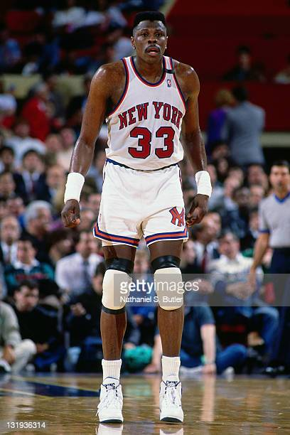 Patrick Ewing of the New York Knicks looks on during a game played circa 1989 at Madison Square Garden in New York City NOTE TO USER User expressly...