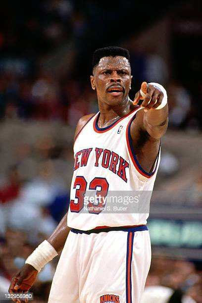 Patrick Ewing of the New York Knicks points during a game at Madison Square Garden circa 1991 in New York NOTE TO USER User expressly acknowledges...