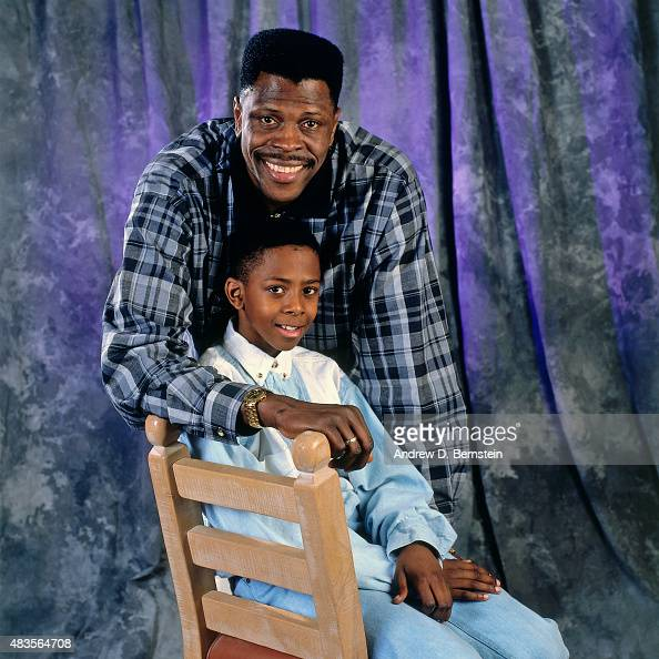 Patrick Ewing of the New York Knicks poses for a portrait with his son Patrick Ewing Jr circa 1995 at Madison Square Garden in New York NY NOTE TO...