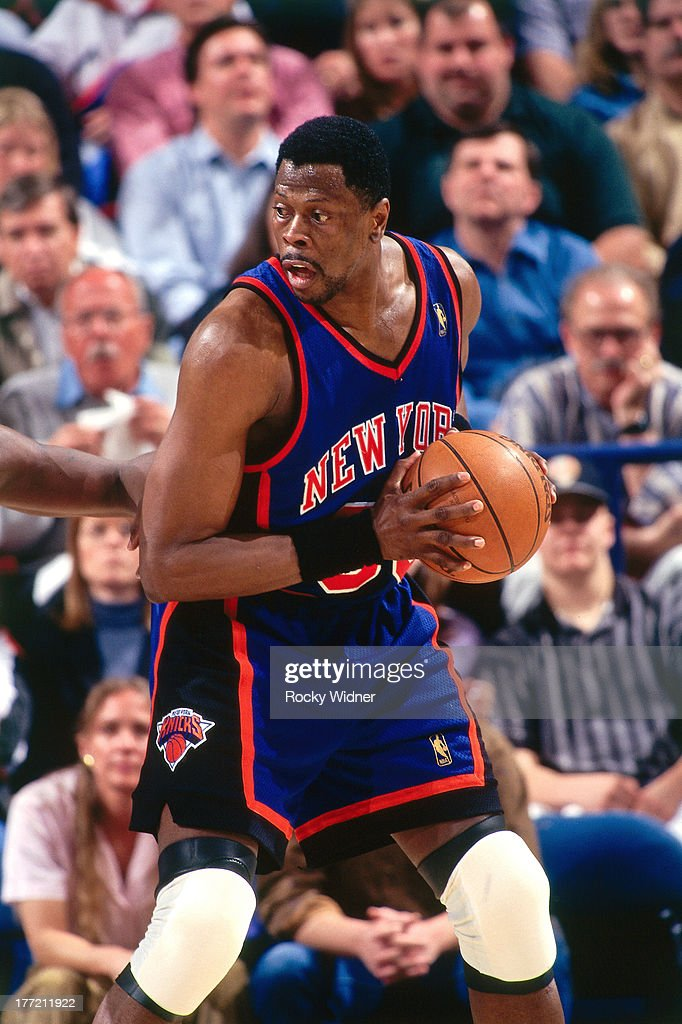 Patrick Ewing of the New York Knicks posts up against the Sacramento Kings on February 20 1997 at Arco Arena in Sacramento California NOTE TO USER...