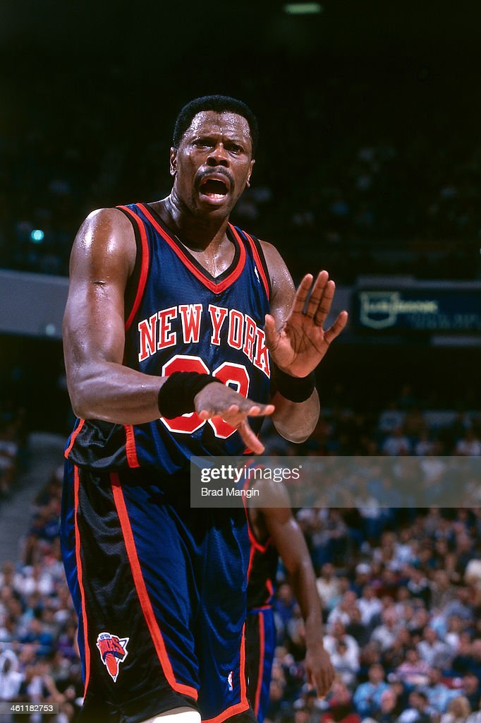 Patrick Ewing of the New York Knicks reacts circa 1998 at Arco Arena in Sacramento California NOTE TO USER User expressly acknowledges and agrees...