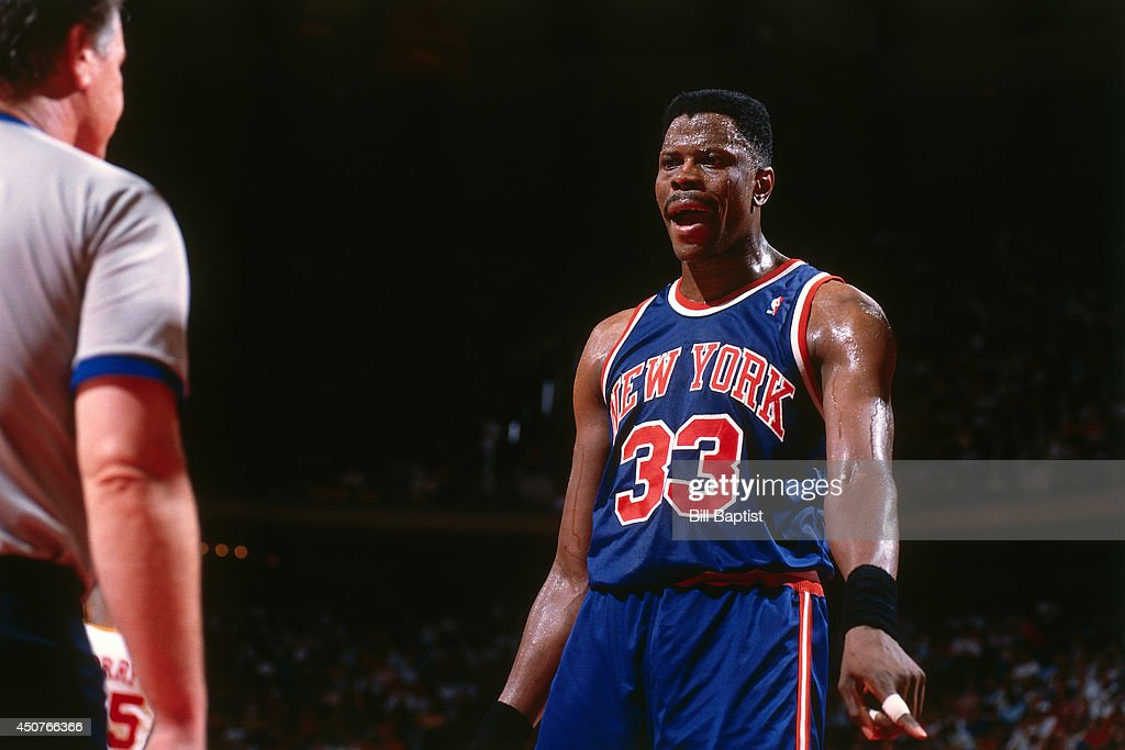 <a gi-track='captionPersonalityLinkClicked' href=/galleries/search?phrase=Patrick+Ewing&family=editorial&specificpeople=202881 ng-click='$event.stopPropagation()'>Patrick Ewing</a> #33 of the New York Knicks reacts to a call during Game One of the NBA Finals against the Houston Rockets on June 8, 1994 at The Summit in Houston, Texas.