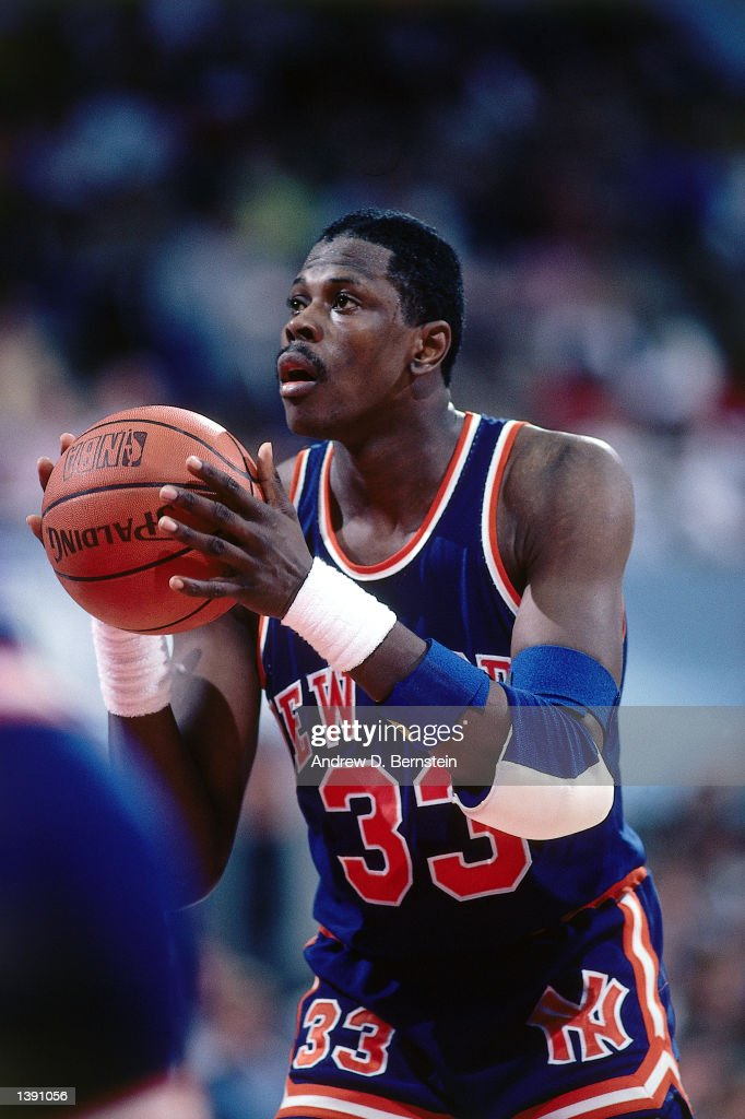 Patrick Ewing of the New York Knicks shoots against the Los Angeles Clippers during an NBA game in Los Angeles California NOTE TO USER User expressly...