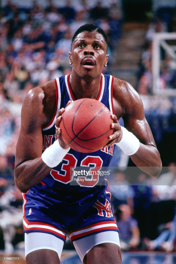 Patrick Ewing of the New York Knicks shoots the ball against the Sacramento Kings on January 19 1989 at Arco Arena in Sacramento California NOTE TO...