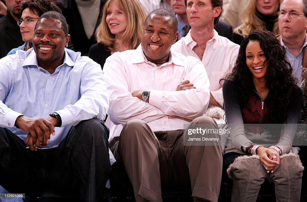 Patrick Ewing with guest and Ciara during Celebrity Sighting at Houston Rockets vs New York Knicks Game November 20 2006 at Madison Square Garden in...
