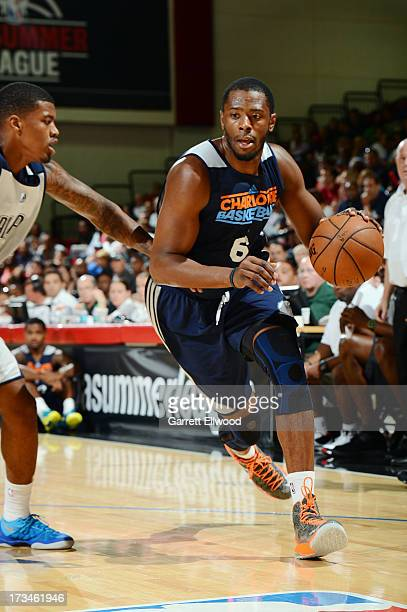Patrick Ewing Jr #6 of the Charlotte Bobcats drives against the Dallas Mavericks during NBA Summer League on July 14 2013 at the Cox Pavilion in Las...