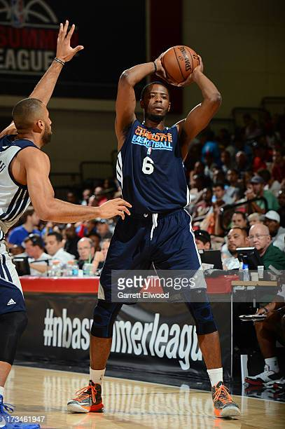 Patrick Ewing Jr #6 of the Charlotte Bobcats looks to pass the ball against the Dallas Mavericks during NBA Summer League on July 14 2013 at the Cox...