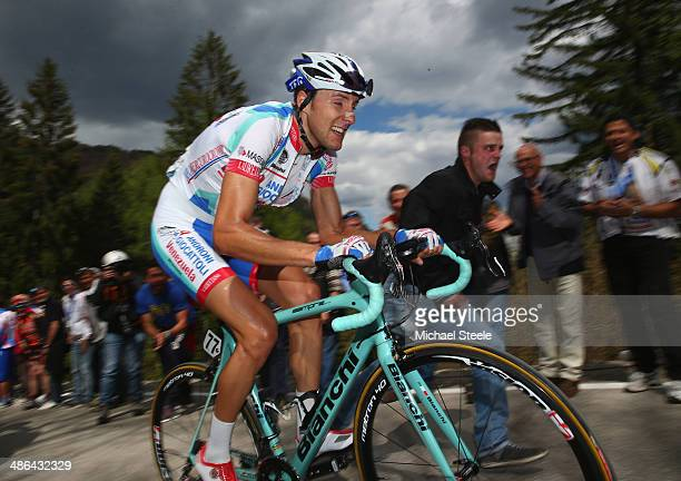 Patrick Facchini of Italy and Androni GiocattoliVenezuela approaches the summit of Roncone LocPozza during stage three of the Giro del Trentino from...