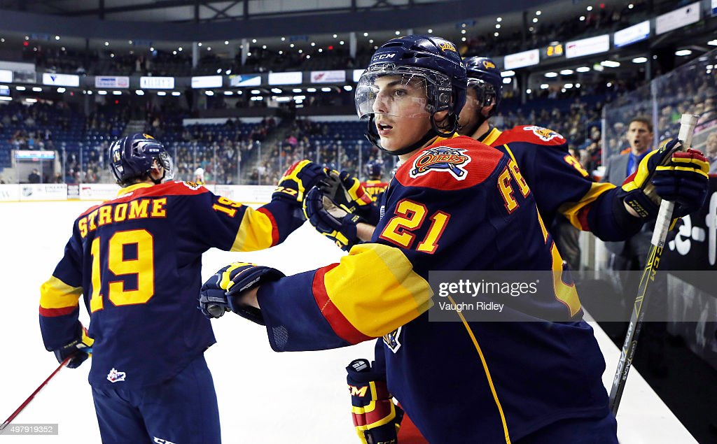 Patrick Fellows #21 of the Erie Otters celebrate Erie's first goal during an OHL game against the Niagara IceDogs at the Meridian Centre on November 19, 2015 in St Catharines, Ontario, Canada.