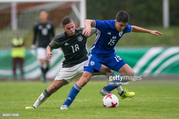 Patrick Finger of Germany and Nadad Aviv Niddam of Israel fight for the ball during the 'Four Nations Tournament' match between U17 Germany and U17...