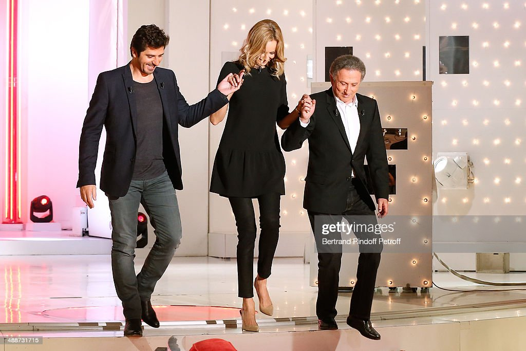 Patrick Fiori, Adriana Karembeu and Michel Drucker attend the 'Vivement Dimanche' French TV Show, held at Pavillon Gabriel on May 14, 2014 in Paris, France.