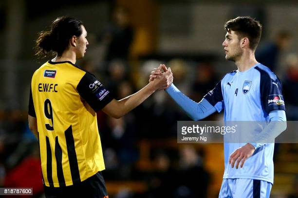 Patrick Flottmann of Sydney FC and Taylor SaitoPatch of the Wanderers congratulate each other after the 2017 Johnny Warren Challenge match between...
