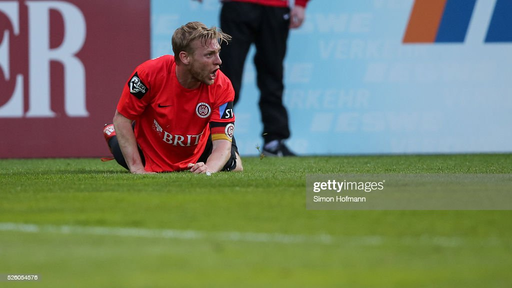 <a gi-track='captionPersonalityLinkClicked' href=/galleries/search?phrase=Patrick+Funk&family=editorial&specificpeople=691617 ng-click='$event.stopPropagation()'>Patrick Funk</a> of Wiesbaden reacts during the Third League match between Wehen Wiesbaden and Preussen Muenster at BRITA-Arena on April 29, 2016 in Wiesbaden, Hesse.