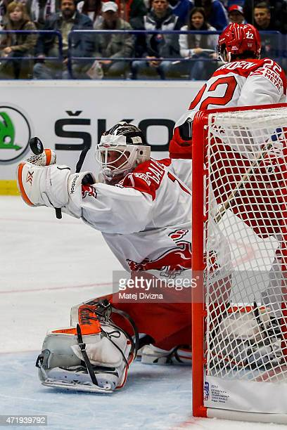 Patrick Galbraith goalkeeper of Denmark saves during the IIHF World Championship group B match between Slovakia and Denmark at CEZ Arena on May 2...