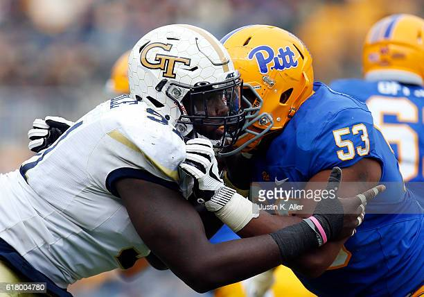 Patrick Gamble of the Georgia Tech Yellow Jackets and Dorian Johnson of the Pittsburgh Panthers in action on October 8 2016 at Heinz Field in...