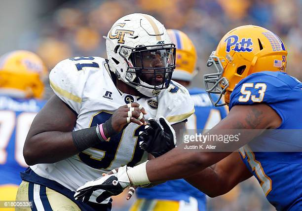 Patrick Gamble of the Georgia Tech Yellow Jackets in action against Dorian Johnson of the Pittsburgh Panthers on October 8 2016 at Heinz Field in...