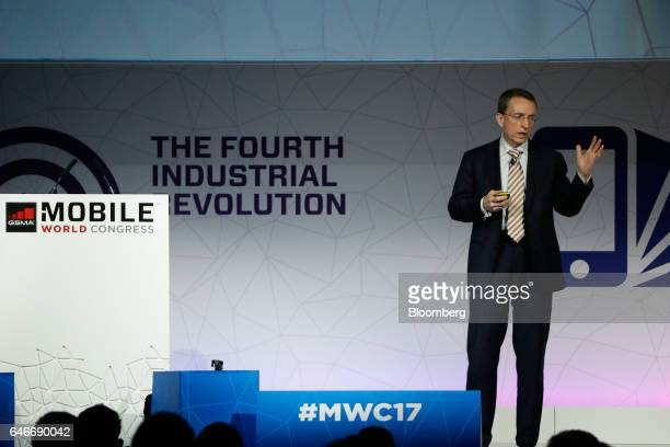Patrick Gelsinger chief executive officer of VMware Inc gestures while speaking on the third day of Mobile World Congress in Barcelona Spain on...