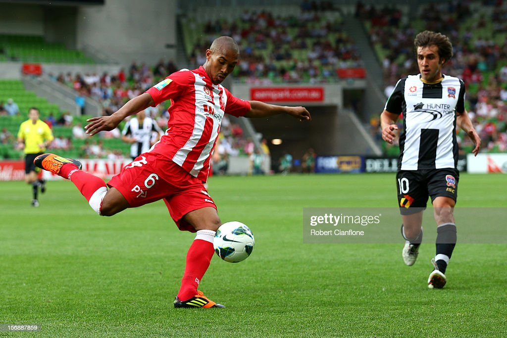 Patrick Gerhardt of the Heart clears the ball during the round eight A-League match between the Melbourne Heart and the Newcastle Jets at AAMI Park on November 24, 2012 in Melbourne, Australia.