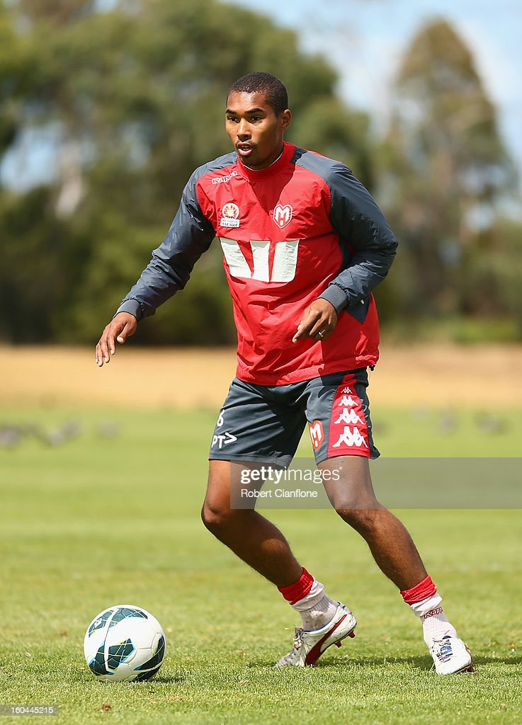 Patrick Gerhardt of the Heart controls the ball during a Melbourne Heart A-League training session at La Trobe University Sports Fields on February 1, 2013 in Melbourne, Australia.