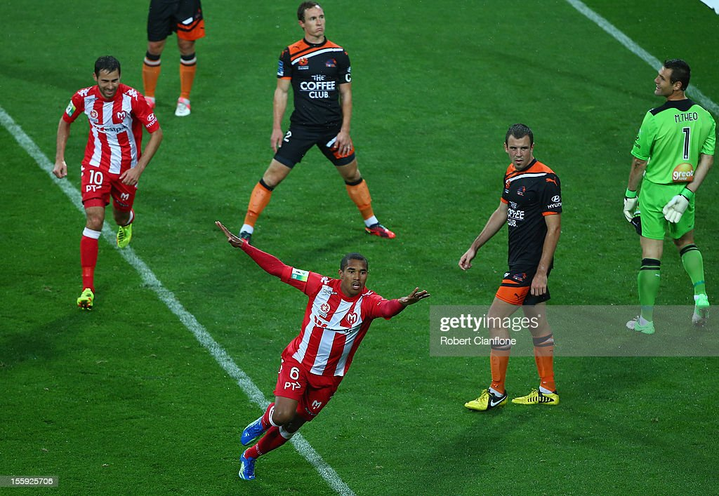Patrick Gerhardt of the Heart scores his team's first goal during the round six A-League match between the Melbourne Heart and the Brisbane Roar at AAMI Park on November 9, 2012 in Melbourne, Australia.