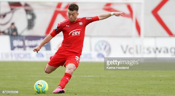 Patrick Goebel of Zwickau during the Third League match between FSV Zwickau and Fortuna Koeln on April 23 2017 at Stadion Zwickau in Zwickau Germany
