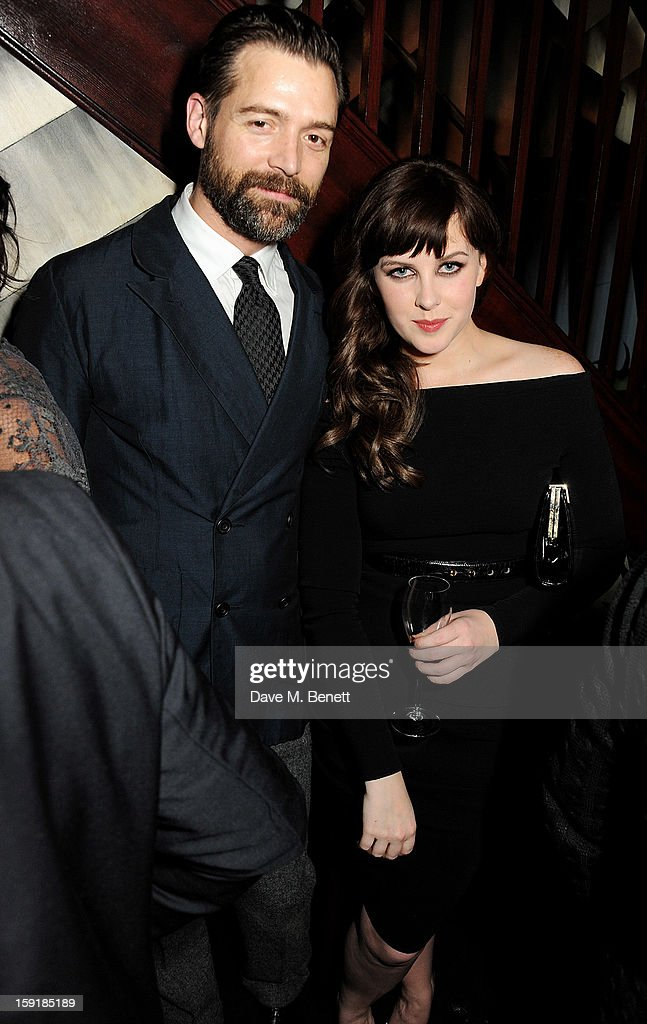 Patrick Grant (L) and Alexandra Roach attend a private dinner hosted by Tom Ford to celebrate his runway show during London Collections: MEN AW13 at Loulou's on January 9, 2013 in London, England.